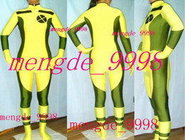 sexy halloween costume spandex body suit Canada - Sexy Rogue X-Men Body Suit Yellow Dark Green Lycra Spandex Rogue Catsuit Costumes Unisex X-Men Rogue Costumes Halloween Cosplay Suit M175