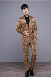 Wholesale leopard print suit for men resale online - Fashion leopard blazer men formal dress latest coat pant designs suit men costume homme terno masculino suits for men s stage