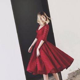 $enCountryForm.capitalKeyWord NZ - Red Lace Short Prom Dresses Half Sleeve Vintage Design Deep V Neck Tea Length A Line Girls Party Gowns Lace up Back Custom Size