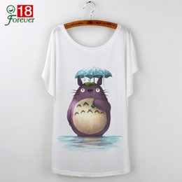 Camiseta Gráfica Al Por Mayor Baratos-Tops de Al por mayor-Verano 2016 Harajuku Camisetas divertidas Cute Totoro Graphic Tees Camisetas de mujer Camiseta suelta de impresión casual de dibujos animados Femme Blanco