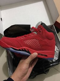 Discount rage shoes - With box 5 V Raging Bull Red Suede Men Basketball Shoes 3M Sports Sneakers 5s top quality Wholesale Size 8-13