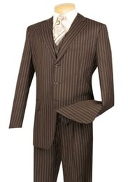 PinstriPe flats online shopping - Men s Brown Pinstripe Piece Button Classic Fit Suit NEW Matching Vest jacket pants custom made