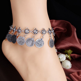 anklet toe chain UK - Vintage Silver Coin Women Ankle Bracelet Tassel Sandal Barefoot Bridal Beach Pearl Foot Toe Jewelry Anklet Chain