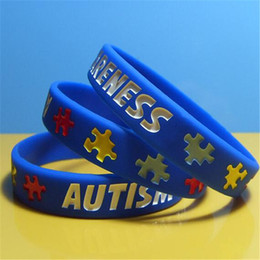 DHL Silicone Bracelet Strap for Men Gift Autism Awareness Silicon Wristband Puzzle Letter Wristband Bracelet for Youth and Adult on Sale