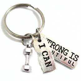 $enCountryForm.capitalKeyWord Canada - 12pcs Barbell Keychain SStrong is Beautiful, I Can Charm, keyring Dumbell Car Accessories Jewelry