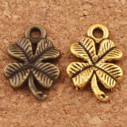 Lucky cLover charms online shopping - Lucky Clover Charms Pendants Jewelry DIY Antique Silver Gold Bronze L318 x10 mm Findings