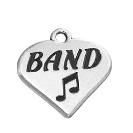 cool style charm music note letter engraved band words rhodium plated heart charm fashion pendant for diy necklacebracelet jewelry