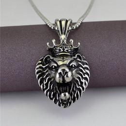 necklace lion 2019 - Vintage Silver Lion Head Necklace Stainless Steel Casting Men Women Pendant Game Animation Accessories NE740 cheap neckl