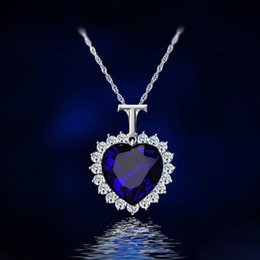 Titanic Chains NZ - Fashion Women Lady Heart Of Ocean Titanic Blue Crystal Pendant Elegant Necklace for mon girlfriend gift free shipping