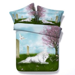 $enCountryForm.capitalKeyWord UK - Romantic Design White Unicorn Bedding Sets Twin Full Queen King Size Bedspreads Dovet Covers Sets Pillow Shams Comforter Horse Dove Animal