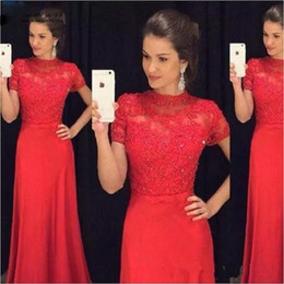 short red lace prom vintage dress Australia - Red Prom Dresses 2017 O-Neck Short Sleeve Zipper Long Chiffon and Lace 2017 A-line Evening Party Gowns