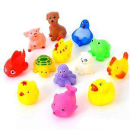 toy washing Canada - 13Pcs 1Set Lovely Animals Toys For Kids Cute Soft Rubber Float Sqeeze Sound Baby Wash Bath Toys Play Animals Toys