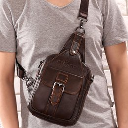 Discount cell phone chest packs - Wholesale- Men Genuine Leather Cowhide Messenger Shoulder Cross Body Bag Travel Climb Sling Chest Day Back Pack
