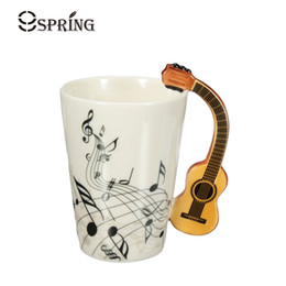 tea music note UK - Novelty Acoustic Guitar Ceramic Coffee Mugs Creative Music Note Milk Coffee Tea Cups Home Office Mugs Novelty Gifts