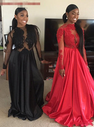 5cd37caa7104 Sexy Black Red African Black Girl Prom Dresses Lace Accents Long Sleeve  Evening Dresses Long Vestidos Robe De Soiree