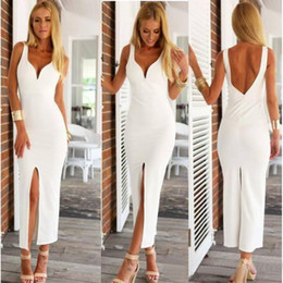 Barato Vestidos Brancos Sexy De Verão Formal-Cheap Tea Length White Straps Prom Dress 2017 V-Neck Backless Sexy Front Slit Vestidos de noite para o verão Party Women Formal Prom Dresses