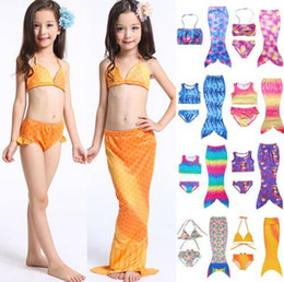 Wholesale Mermaid Fin Canada - Girls Mermaid Tail Bikini Suit Kids INS Swimmable Mermaid Fins Swimsuit Swimming Costume Bathing Suit 27 Design OOA1296