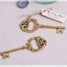 """$enCountryForm.capitalKeyWord Canada - Wedding Favors Gift Gold """"Key to My Heart"""" Antique Bottle Opener Party Decoration Creative Key Beer Bottle Opener baby shower Souvenir"""