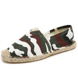 Espadrilles en toile pour femmes à la main en été Slip-on Casual Loafers Camouflage Stripe Lin Jute Chanvre Semelle Chaussures de pêcheur en Solde