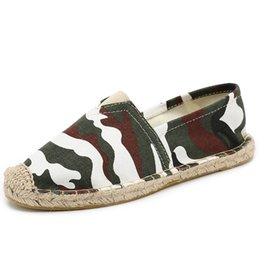 856a317c7 Summer Handmade Women's Espadrilles Canvas Flats Slip-on Casual Loafers  Camouflage Stripe Linen Jute Hemp Soled Fisherman Shoes