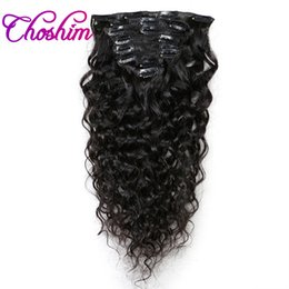 Venta al por mayor de Extensiones de Cabello Choshim Slove Cabello Color Natural 8 Unidades / Set Clip en Brasileño Natural Brasileño Remy Hair Full Head Sets 120G