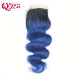 $enCountryForm.capitalKeyWord UK - T1B Ocean Blue Color Body Wave Lace Closure Ombre Brazilian Virgin Human Hair 4X4 Lace Closure With Baby Hair Natural Hairline Closure