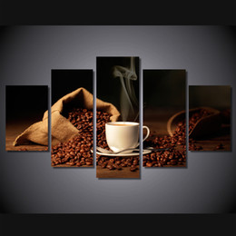$enCountryForm.capitalKeyWord Canada - 5 Pcs Set HD Printed bag coffee beans shoulder cup Painting Canvas Print room decor print poster picture canvas Free shipping ny-2000