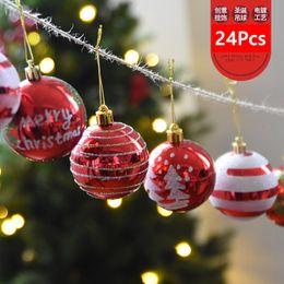 High Quality 24 Pcs Color Drawing Decoration Plastic Ball Christmas Tree Ornament Balls Decorantion Festice Festive Party Supplies