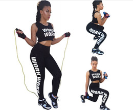 $enCountryForm.capitalKeyWord NZ - 2016 Summer New Fashion Yoga Pants Sport Tight Pants Number Print Two Pieces Set Vest+Trousers O-Neck Crop Tops Tracksuits