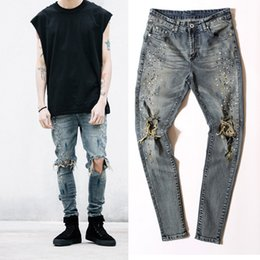 $enCountryForm.capitalKeyWord Canada - Wholesale-29-36 men designer clothes denim jumpsuit jean pants korean rock splash-ink stretch moto distressed ripped skinny men hole jeans