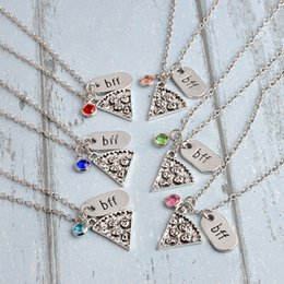 Discount pizza best friend necklace 6 Styles New Fashion Pendant Necklace Pizza Statement Necklace for Women Best Friend Forever Necklace B372S