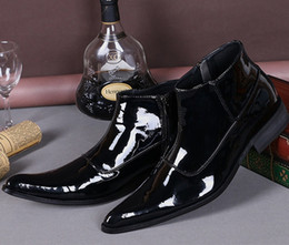 Style De Robe Formelle Coréenne Pas Cher-Style coréen Casual Flats Shiny Leather Men Bottes Noir Formal Business Robes de mariée Hommes Oxfords Spring Autumn Ankle Boots Grande taille