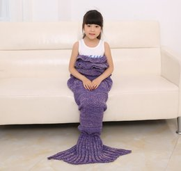 $enCountryForm.capitalKeyWord Canada - Knitted Mermaid Blankets Kids Girls Multi Color Sweater Sleeping Bags Western Cute Kids Swaddling Blankets 5pcs lot Mix Color