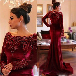 $enCountryForm.capitalKeyWord Canada - 2017 Grace Velvet Burgundy Evening Dresses Long Sleeves Mermaid Lace Beading Prom Party Gown Custom Made