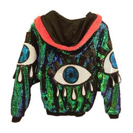 Wholesale super women costumes for sale – halloween HOT Fashion Women Coat Nightclub Singer DS DJ Costume Super Flash Sequins Green Laser Bat Sleeve Jacket Eyes Lips
