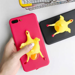 Oeuf 3d Pas Cher-Cartoon 3D Squishy Squeeze Lay Egg Yellow Chicken Soft TPU Case pour iPhone 77Plus