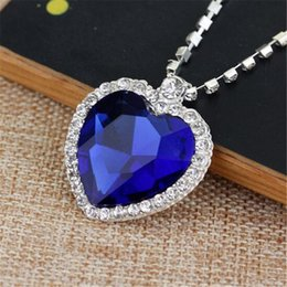 Titanic Chains NZ - The Heart Of The Ocean Necklace Crystal Chain Luxurious Heart Diamond Pendants Titanic Necklaces for Women Movie Statement Jewelry