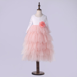Chiffon pleat flower girl dresses online shopping - 2017 baby girls lace TuTu princess dress cotton long sleeves Flowers pearl dresses Kids Clothing colors