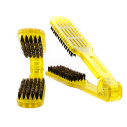 Double Hair Combs Canada - Plastic Antistatic Boar Bristle Hair Brush 2 In 1 Design Double Brush V Shape Straightening Hair Comb
