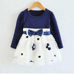 HOT New Infant Baby Girls Long Sleeve Flower Lace Tutu Dresses vestidos  Todler Kids Cute 1 Year Birthday Wedding Party Dress Z1 b512172ab11f