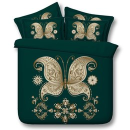 3d full bedding set butterfly Canada - 5 Styles Golden Green Butterfly 3D Printed Bedding Sets Twin Full Queen King Size Fabric Cotton Bedclothes Dovet Cover Fashion Design 3 4PCS