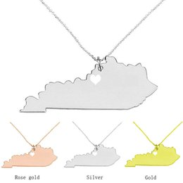 Chinese  Kentucky Map Stainless Steel Pendant Necklace with Love Heart USA State KY Geography Map Necklaces Jewelry for Women and Men manufacturers