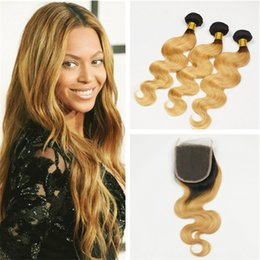 dark roots blonde closure Canada - T1B 27 Dark Roots Ombre Body Wave Virgin Hair 3 Bundles With Lace Closure Two Tone 1B Honey Blonde Ombre Brazilian Human Hair