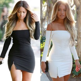 Barato Vestuário Sexy Vestido De Festa Xl-Moda Mulheres Vestuário Sexy Off Shoulder Bodycon Mini Dress 2017 Mulheres Long Sleeve Split Party Dresses Clubwear Slim thick Pencil Dresses
