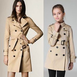 Water Proof Coatings Canada - Family clothes on sell mother and daughter warm jacket slim water proof Europe double breasted British style long family trench coats