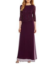 $enCountryForm.capitalKeyWord UK - 2019 Purple Lace Sequin Long Mother Of the Bride Dresses 3 4 Sleeve Chiffon Skirt Plus Size Formal Evening Gowns Wear For Weddings Custom