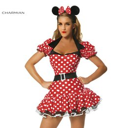 Barato Vestidos De Polca Meninas Sexy-Charmian Mulheres Minnie Mouse Halloween Anime Cosplay Costume Sexy Polka Dot Belted Dress Carnival Oktoberfest Costume for Girls