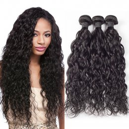 Discount natural brown brazilian hair bundles - Unprocessed Peruvian Human Remy Virgin Hair Natural Wave Hair Weaves Hair Extensions Natural Color 100g bundle Double We