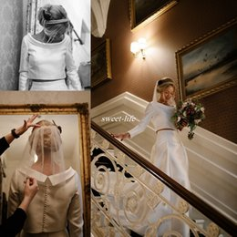 $enCountryForm.capitalKeyWord Canada - Simple 1950's Inspired Winter Wedding Dresses Long Sleeves Covered Button Two Pieces Chapel Train Satin 2017 Vintage Bridal Wedding Gowns