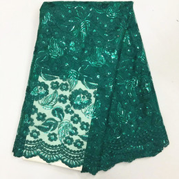 Chinese  5 Y pc fashionable green french net lace fabric with sequins leaves embroidery african mesh lace for clothes BN58-4 manufacturers